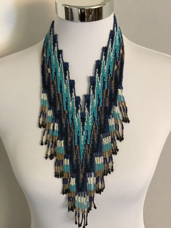 Statement Southwestern MULTI COLOR SEED BEAD TASSEL NECKLACE 19-21 INCH