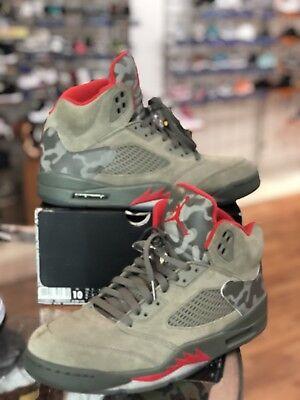 Nike Air Jordan Retro P51 5 V Dark Stucco 136027-051 Camo Camoflauge Sz 10