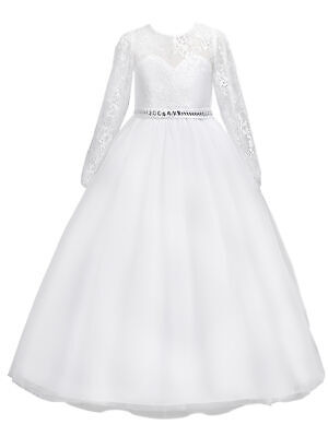 Long Sleeve Communion Dress (Rainkids Big Girls White Lace Long Sleeve Illusion Neck Communion Dress)