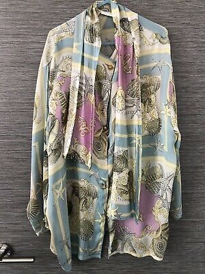 Vintage Baroque Sea Shell Print Blouse Size 12 Pastel Metallic Versace Inspired