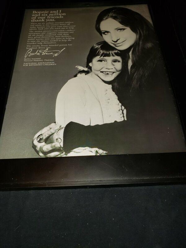 Barbra Streisand Retarded Children Assn. Rare Original Promo Poster Ad Framed!