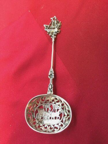 Antique Dutch 800 Silver Reticulated Spoon w/ Coach Scene & Ship Handle