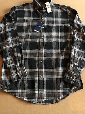NWT Mens Size Small Izod Flannel Shirt Long Sleeve Plaid Black/Gray Red -