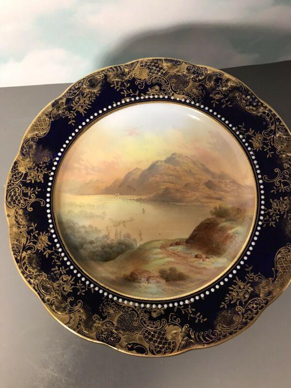 "Antique Aynsley Hand Painted 9"" Pedestal Comport Dish ""Loch Lyndon"" 3338"