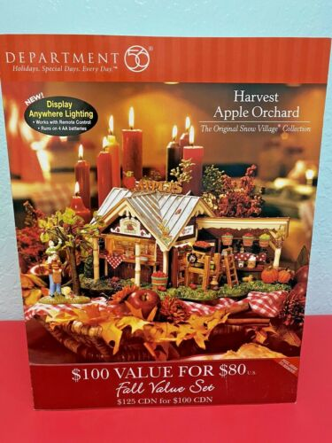 Dept 56 Snow Village Halloween Harvest Apple Orchard in Box Works - Please Read
