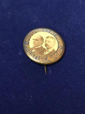 William McKinley Theodore Roosevelt Prosperity At Home Prestige Abroad Rare Pin