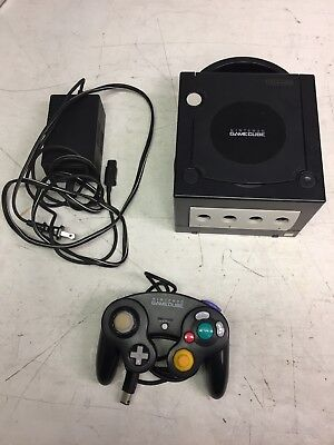 Black Nintendo Gamecube Video Console System With Power Cord   One Controller