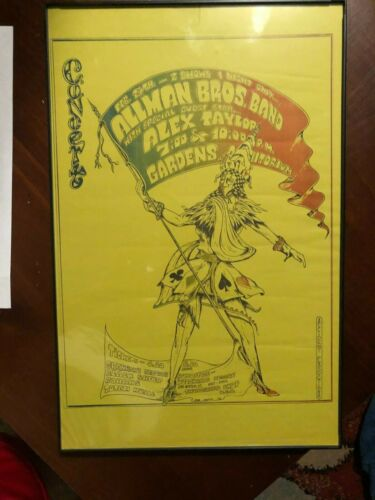 allman brothers  mint 1972 concert poster very rare comes framed