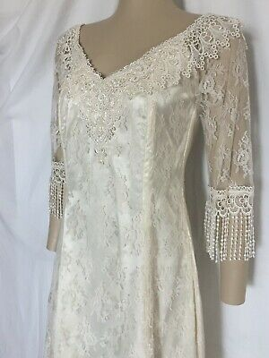 Ivory Lace over Vanilla Satin Wedding Dress, Size 4 and 8