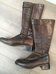 Dark brown leather boots size 8