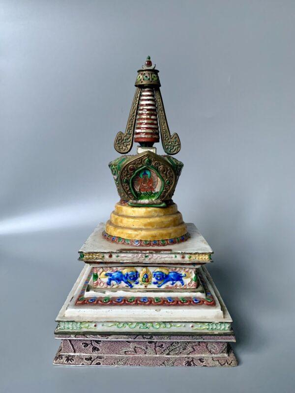 RARE! C.19th Century Tibetan Stupors Shrine Enamelled On Tibetan Silver & Bronze