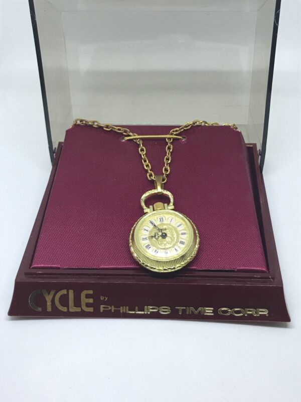Vintage Cycle Gold Toned Baroque Design Women's Necklace Watch