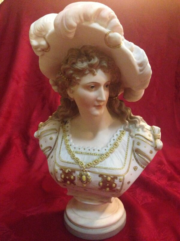"Antique Porcelain Bisque Bust Lady With Hat 11"" Tall"