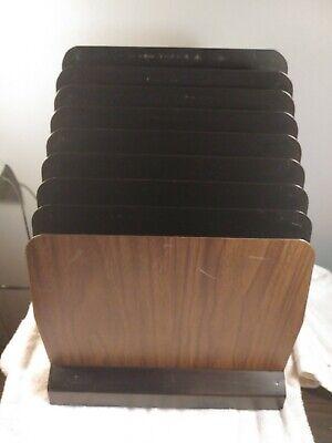 Industrial Metal Desk Organizer Vtg 8 Slot File Holder Office Storage Wood Grain