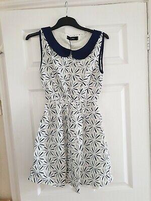 Womens designer Yuki blue and White summer Dress Size S