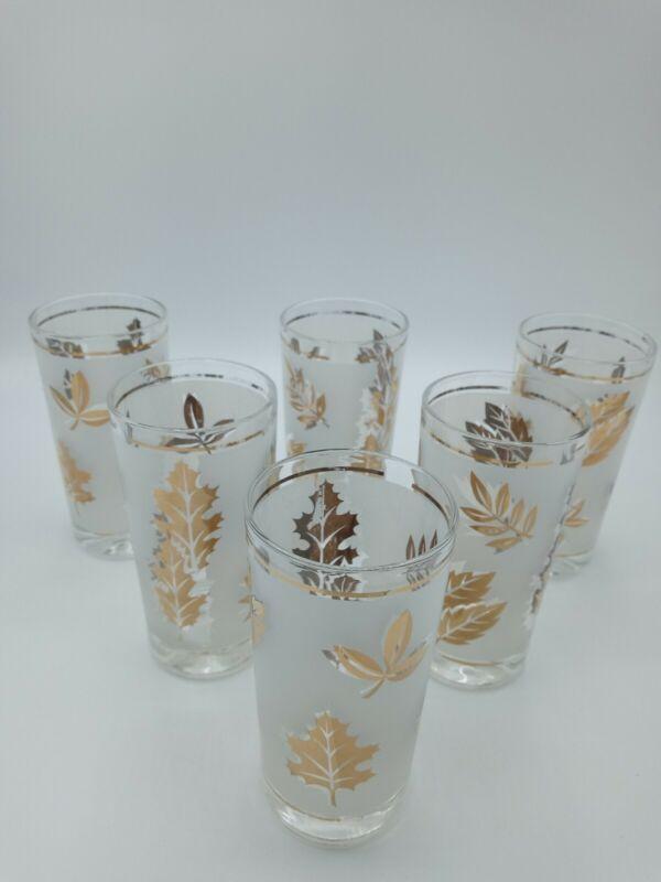 Vintage Mid Century set of 6 Starlyte Frosted Gold Leaf Glasses
