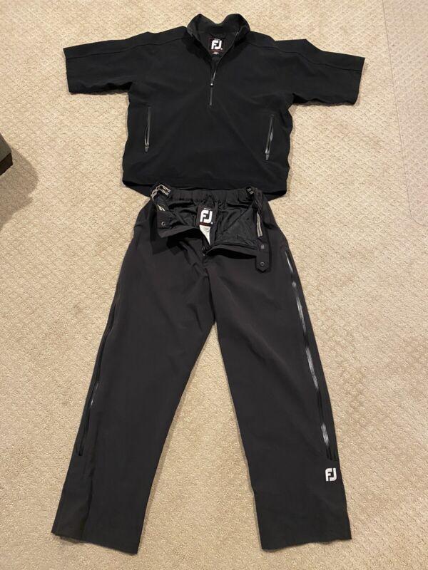 🔥Footjoy Dryjoys Tour Collection Rain Suit Excellent Black M Medium FJ 1/4 Zip