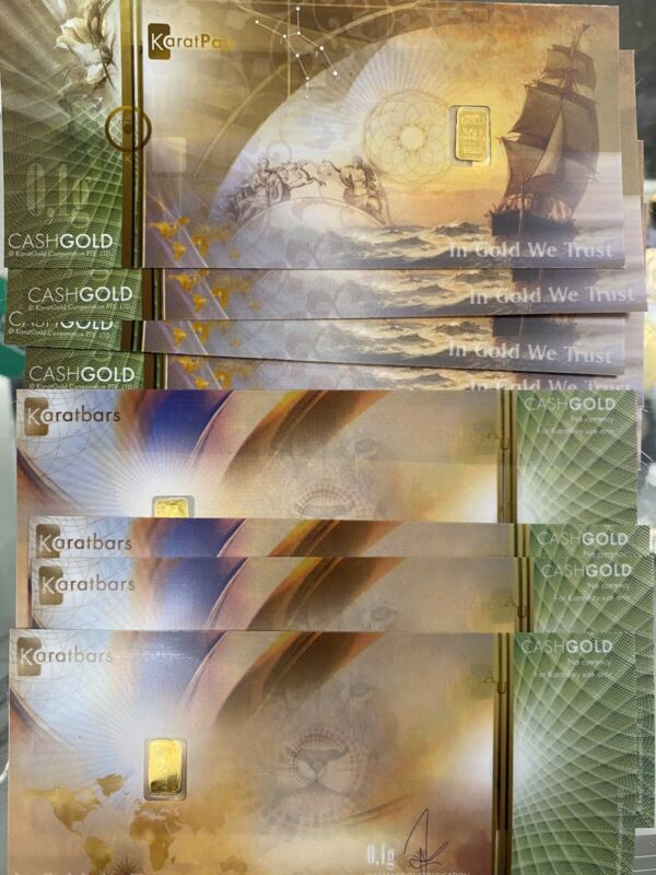 Lot Of 10 Karatbars Cashgold .1 Gram 1/10 Fine Gold .999 Notes