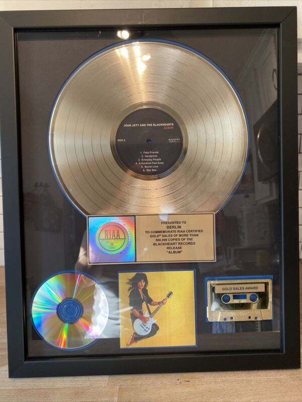 Joan Jett And The Blackhearts Gold RIAA Award ,Presented to The band Berlin