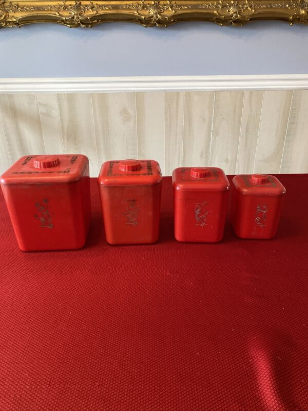 Set Of 4 Red Plastic Lustro' Ware Flour Coffee Sugar Tea Containers With Lids