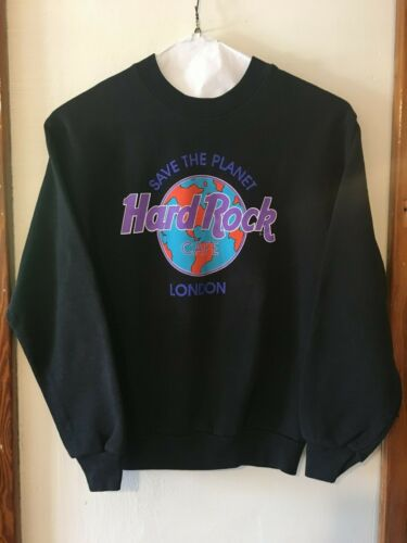 Vintage Hard Rock Cafe London Save The Planet Sweatshirt Black HTF Small