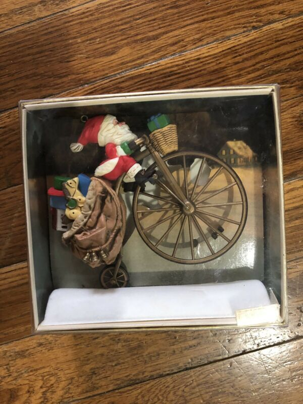 Hallmark Cycling Santa Keepsake Ornament in Original Box 1982