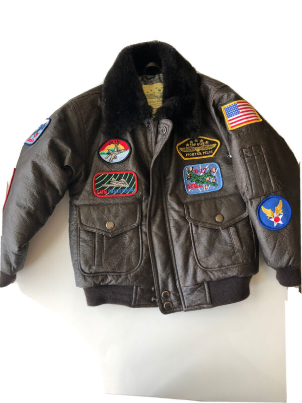 Top Gun Bomber Jacket Kids Size 4/6 Flight Patches Fighter Pilot WW2