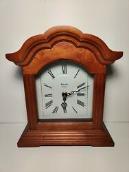 Vintage Wooden Mantel Clock BULOVA Mantle Clock  Quartz B1866 TESTED AND WORKS