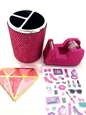Girls Desk Accessories Pink Rhinestone Tape Dispenser Pencil Cup Makeup Stickers