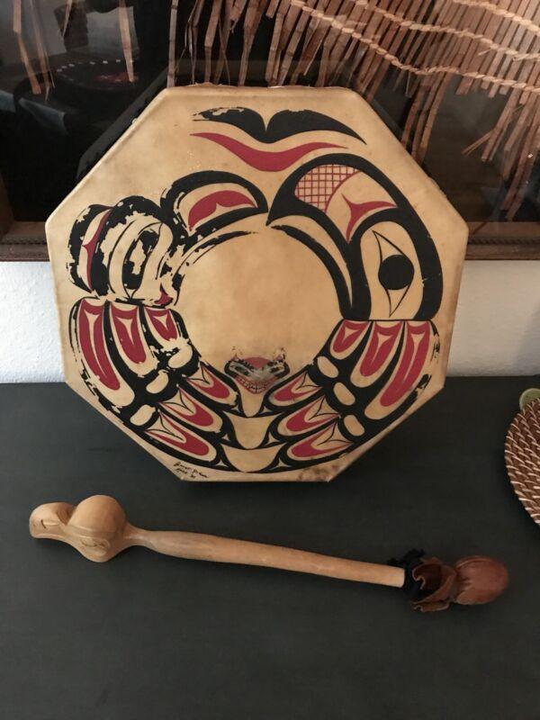 """Exceptional Tlingit Skin Dance Drum & Carved Eagle Mallet """"Alaska"""""""