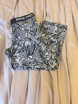 nike pro leggings medium Grey & Black Snake Print, Exercise Trousers Gym Leggins