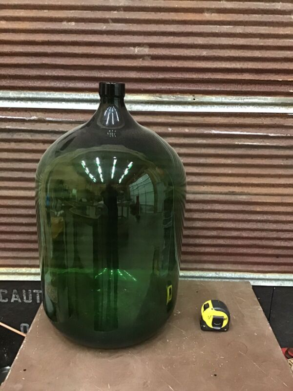 ⭐️ WOW!!! INCREDIBLE Large Antique GREEN Glass Wine Bottle Jug-apothecary Jar-c1