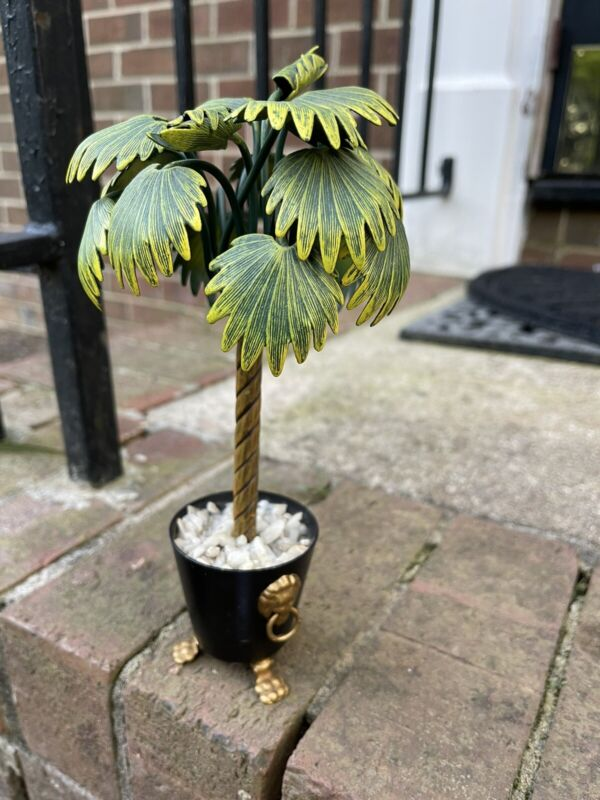 VintageTole palm Tree Topiary 9.5""