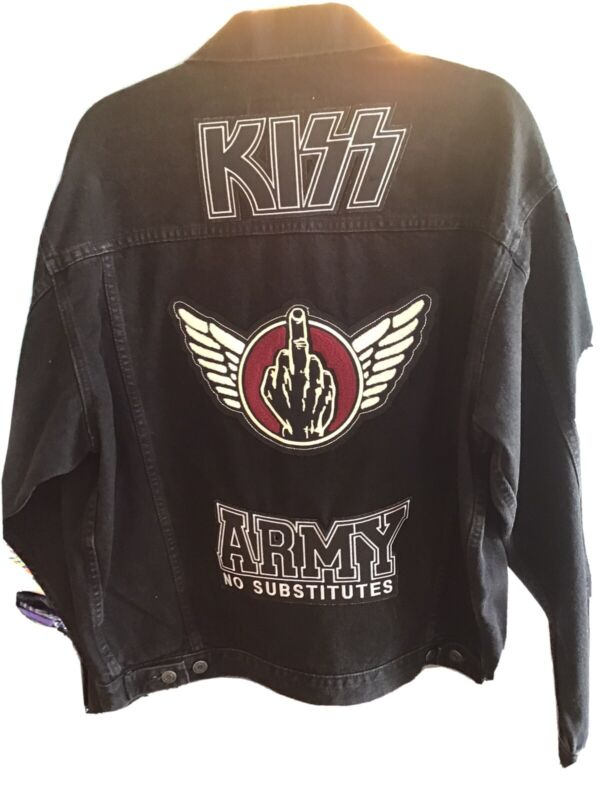 KISS JACKET BLACK DENIM SIZE LARGE OFFICIAL