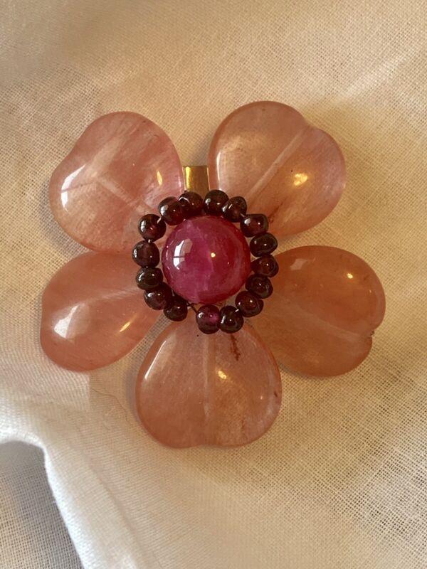 Vintage Cherry Quartz And Garnet Flower Pin Brooch