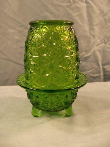 L. E. Smith Green Glass Daisy & Button 2 Piece Fairy Lamp Tea Light