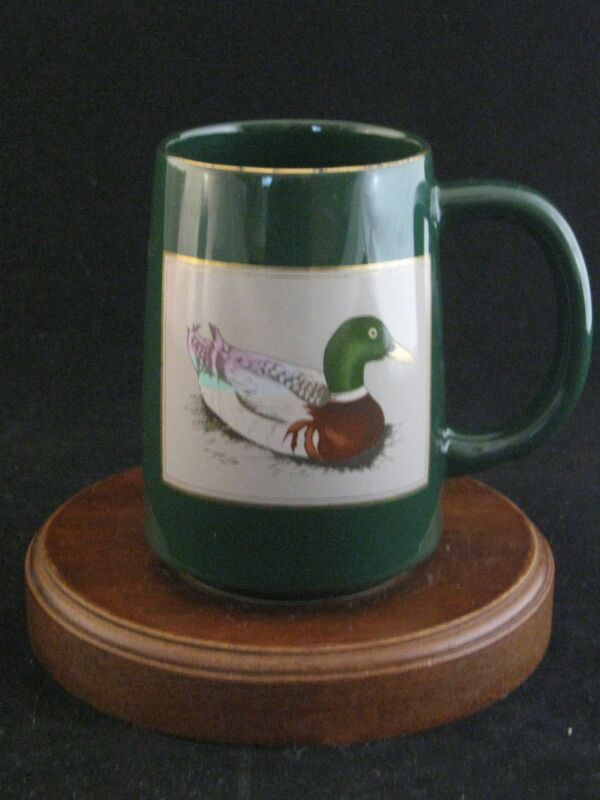 "OMC Otagiri Fine Ceramic ""Mallard"" Tall Green Mug Made in Japan"