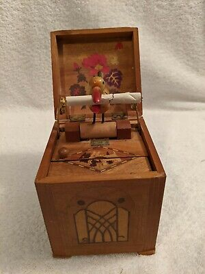 Vintage Cigarette Box Dispenser Wood With Mechanical Bird Made in Occupied Japan