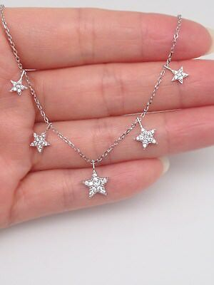 Sterling Silver 925 Cz Star Pendant Necklace Dangle Star Charm Chain 18