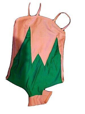 Bang Bang Copenhagen Swimsuit 6-7 Coral Green purple ruffles