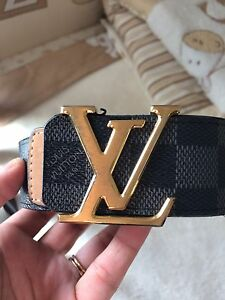LOUIS VUITTON BLACK LEATHER BELT- 24ct Gold Plated LV Buckle- Kingsgrove Canterbury Area Preview