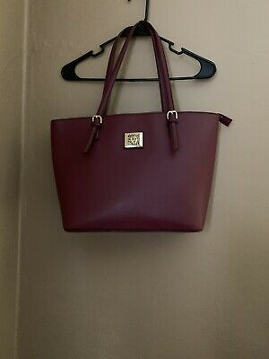 ANNE KLEIN TOTE HANDBAG  Burgundy Double Handles Adjustable Handles.