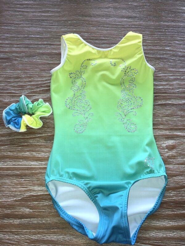 SG Gymnastics Wear Leotard Size 28 Yellow Green Blue