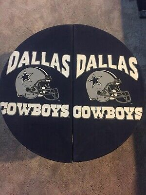 """Dallas Cowboys Round Tailgate Table NFL Portable Fold Party End Picnic 30"""" Used Dallas Cowboys Tailgate Table"""