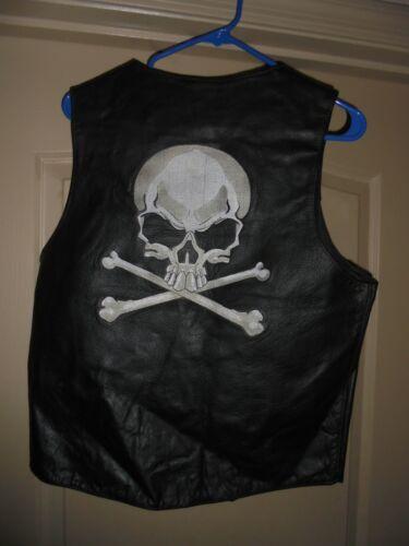 Mens New Motorcycle black hot leathers biker Vest With~Skull & Bones Medium