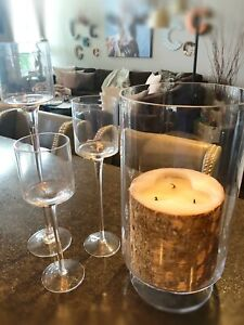 "Glass Candle Holders ~ includes ""wood"" pillar candle"