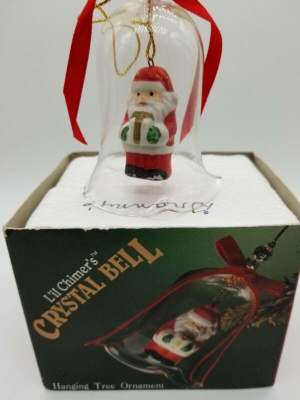 "Jasco Lil Chimers Crystal Bell Tree Ornaments Christmas Santa 3 1/2"" Vintage 50"