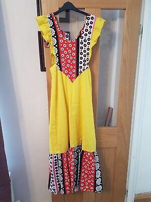 Vintage 1970s Floral Psych Maxi Dress Size: UK 8  60s 70sEthnic Ruffle Boho