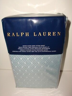 Ralph Lauren Bedford Jacquard Queen Extra Deep Fitted Sheet NIP Sanibel Blue