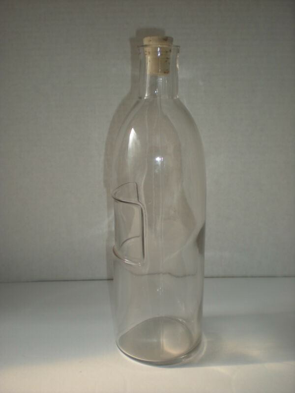 Apothecary Bottle with Cork Stopper and Embossed Label Panel Rare Antique n1